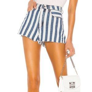 Blue and white stripes denim shorts size 25